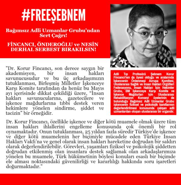 Bağımsız Adli Uzmanlar Grubu'ndan Tutukluların Derhal Serbest Bırakılması için Sert Çağrı!
