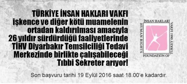 TİHV Diyarbakır Temsilciliği Tıbbi Sekreter Arıyor!