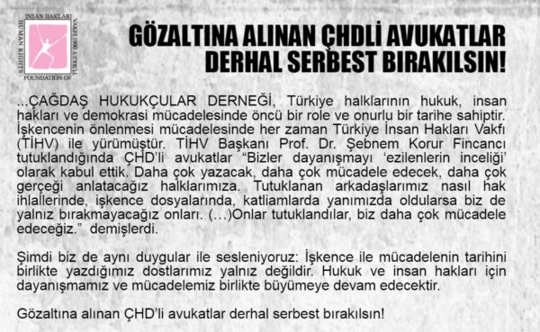 Gözaltına Alınan ÇHDli Avukatlar Derhal Serbest Bırakılsın!
